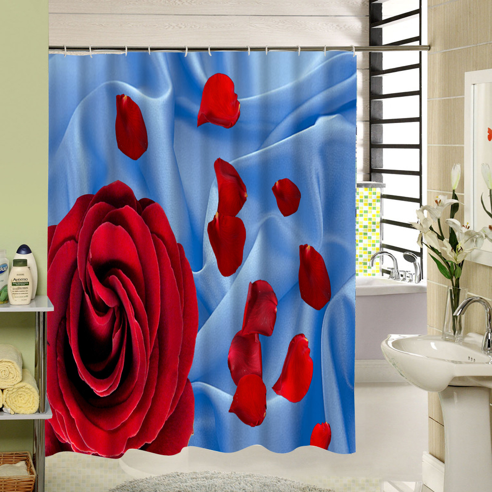 Modern Pattern Water Resistant Bathroom Curtain Waterproof Mildew Free Shower Curtain Red Floral