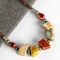 Женские античные ожерелья и подвески  цветные нестандартной формы с керамическими бусинами # FY567