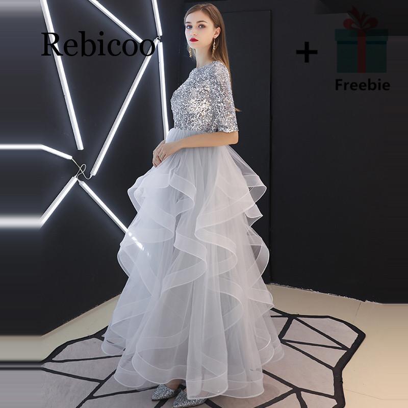 Rebicoo 2019 ภาษาฝรั่งเศสคำ Sequined ครึ่งแขน Layered Hem ชุดราตรีสีเทาเอวสูงชุดพัฟ-ใน ชุดเดรส จาก เสื้อผ้าสตรี บน   1
