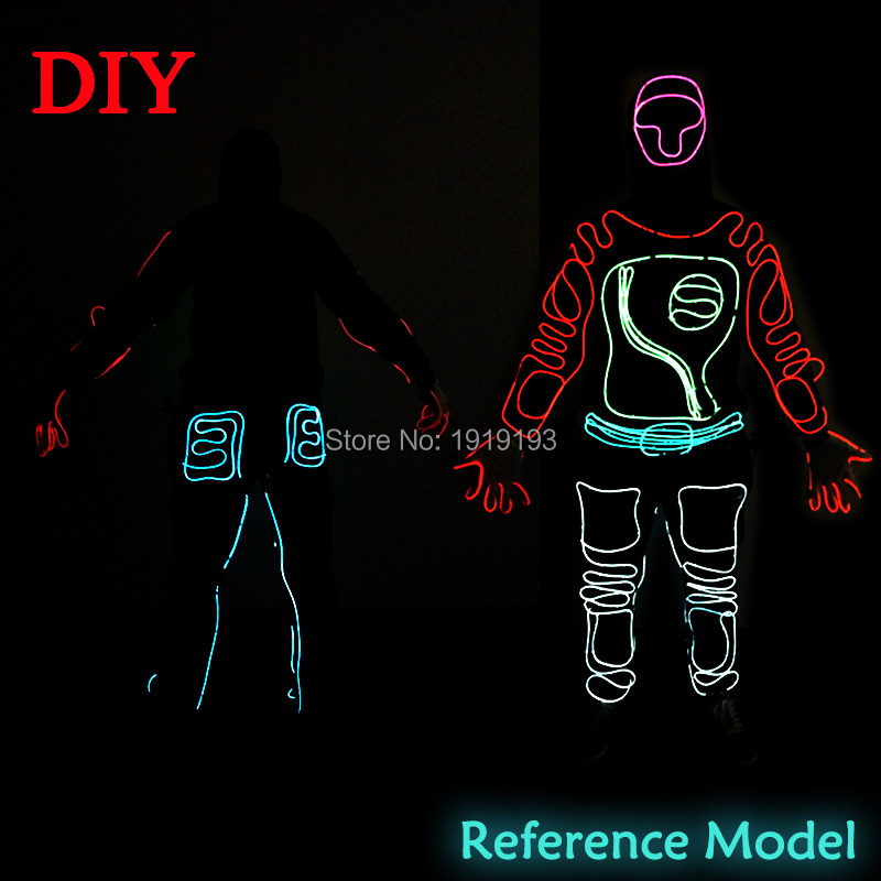 New Trendy the Style of Shadow Rider DIY LED suits EL wire Costume ...