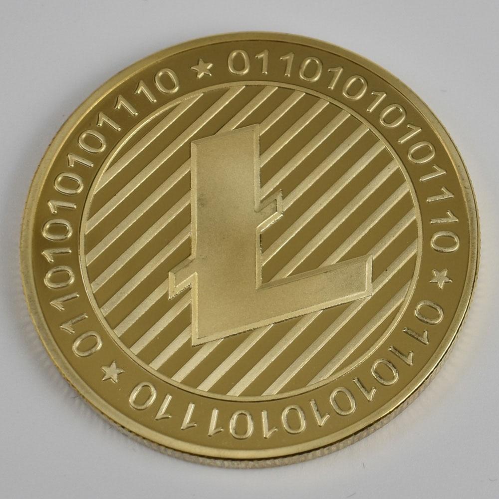 Позолоченные Биткоин Бит монета пульсация Litecoin эфириум коллекция подарок 40 мм криптовалюта монета металлическая памятная монета - Цвет: Gold Litecoin
