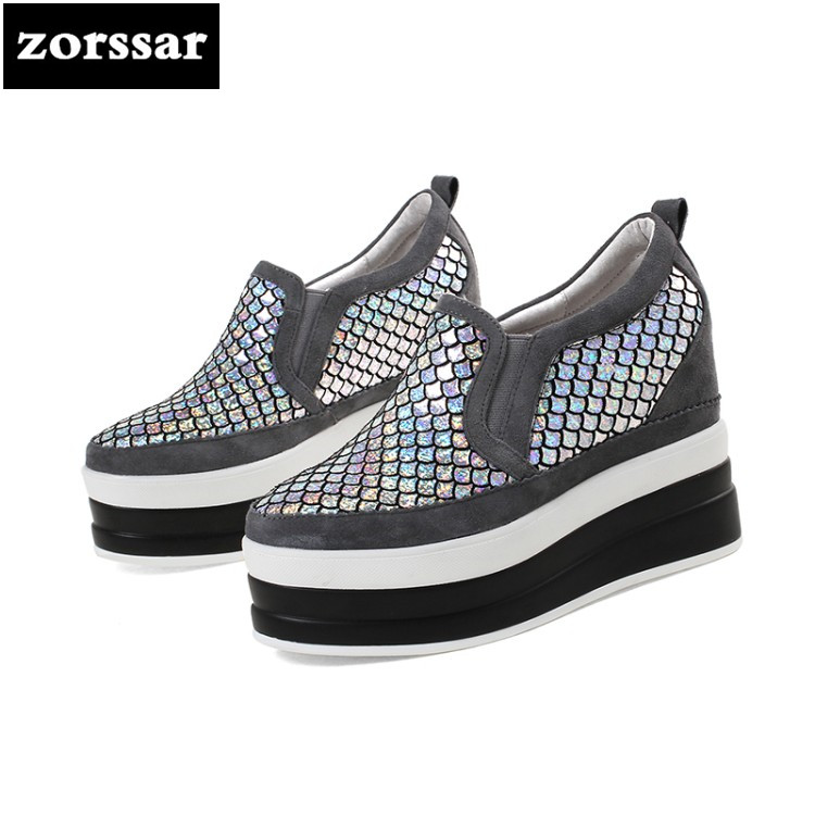 {Zorssar} 2018 New Fashion Bling Genuine Leather casual womens shoes pumps increased internal shoes women High heels platform zorssar brand 2018 new womens creepers shoes heels casual wedges high heels pumps shoes fashion suede women platform shoes