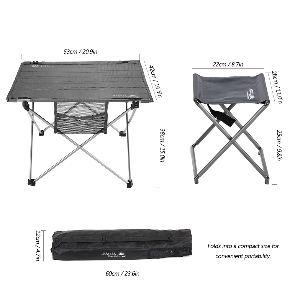 Table Pliante Légère Table De Camping Portable Table 4 Tabourets