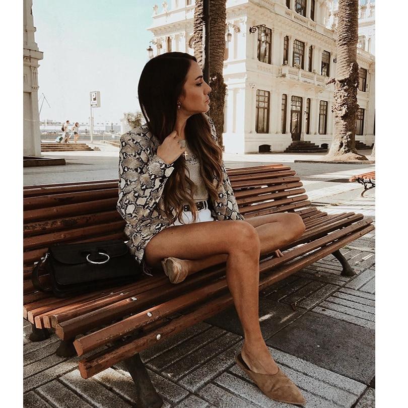 2019 Women England Style Snake Print Blazer Pockets Notched Collar Long Sleeve Coat Female Outerwear