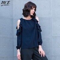 ME Autumn Women Blouse Elegant Ruffles Off Shoulder Casual Loose Shirt Vintage Plus Size Lantern Sleeve