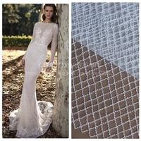 La Belleza Off white/black/wine beaded net wedding dress fabric blackround/lining 51'' width