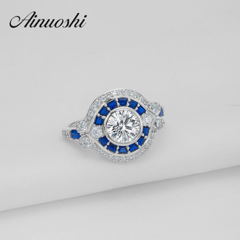 AINOUSHI Classic 1.25 ct Round Cut CZ Ring Wedding Jewelry SONA Synthetic Simulated Blue Halo Ring Lovers Engagement Band Bijoux