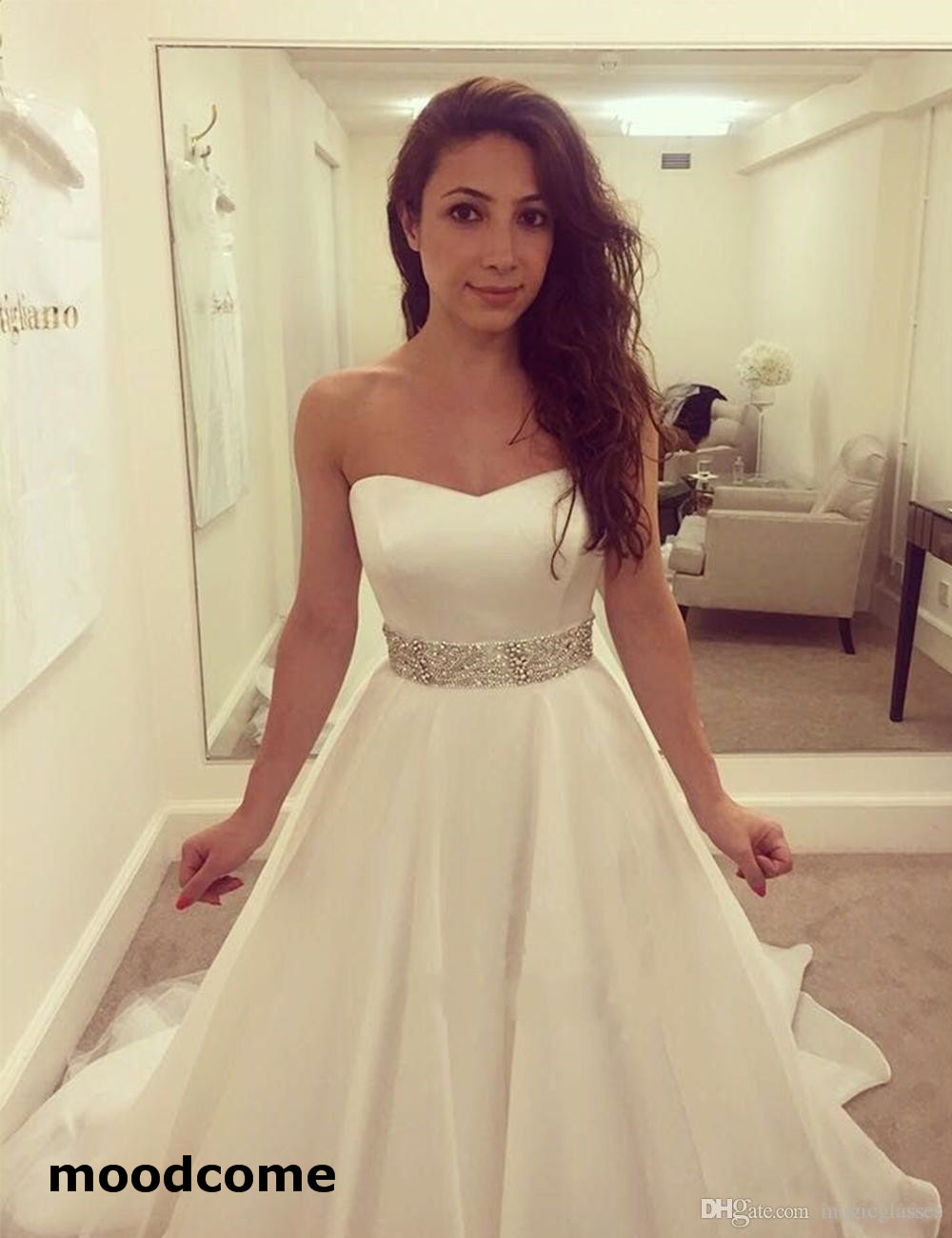 Sweetheart Neckline Wedding Dress with Corseted High Back Crepe Satin Bodice Bridal Gown Organza and Tulle Layered