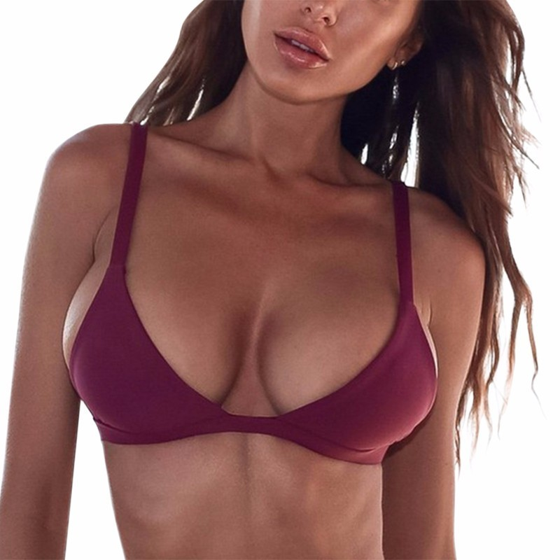 2018 New Women Sexy Bikini Top Bandage Push-Up Bra Swimwear Swimsuit Sling Solid Color Bra Tops Brazilian Swimsuit Bather Suit