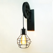 Creative lifting pulley light retro loft vintage wood black wall lamp aisle bedside corridor porch restaurant bar cafe light bra(China)