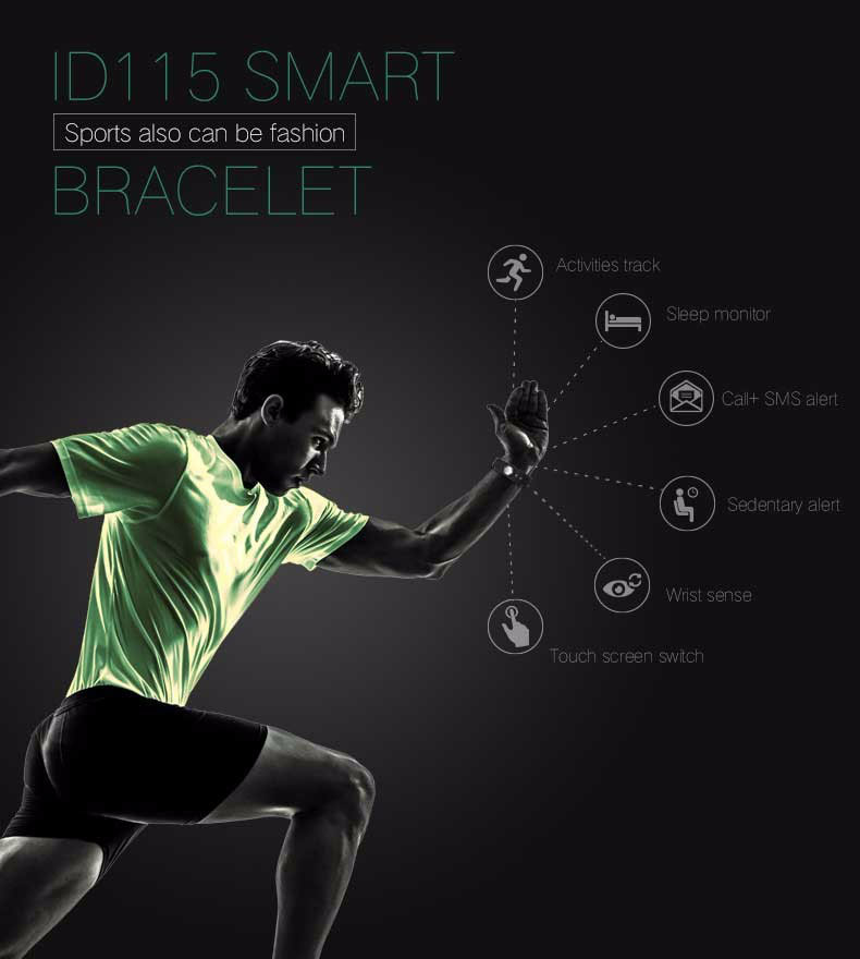 Fentorn ID115 Sports Smart band call message reminder Steps calorie activities Fitness Tracker Wristband Bracelet for smartphone 1