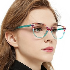 Image 2 - OCCI CHIARI Spring Hinges Prescription Lens Medical Optical Eyeglass Woman Frame Stripes Colorful Navy Red Italy Design W CORRU