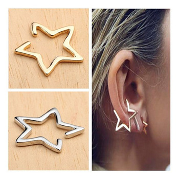 1pcs Fashion Unisex Punk Rock Star Ear Clip Earrings No piercing Silver Gold Earrings Body Jewelry For Women Men Free Shipping золотые серьги по уху