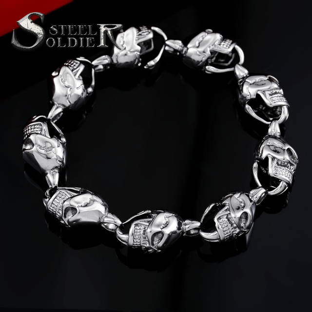 steel soldier stainless steel Skull Bracelet punk men Biker Charm Bracelet unique jewelry