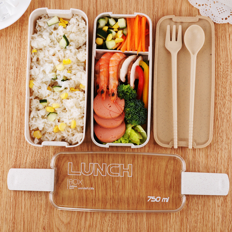 750ml Portable Healthy Material Lunch Box 2 Layer Wheat Straw Bento Boxes Microwave Dinnerware Food Storage Container Food Box