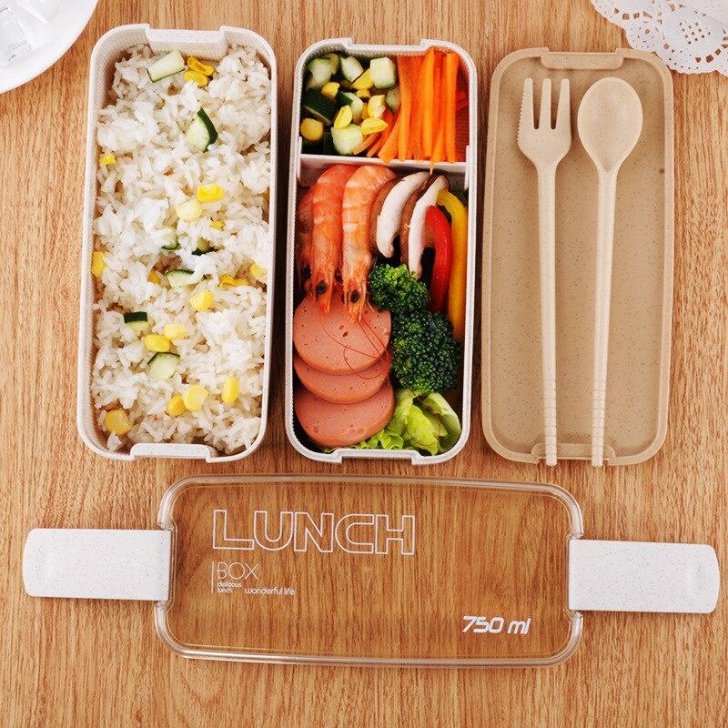 Ev ve Bahçe'ten Öğle Yemeği Kutuları'de 750ml taşınabilir sağlıklı malzeme yemek kabı 2 katmanlı buğday samanı Bento kutuları mikrodalga yemek gıda saklama kabı yiyecek kutusu title=