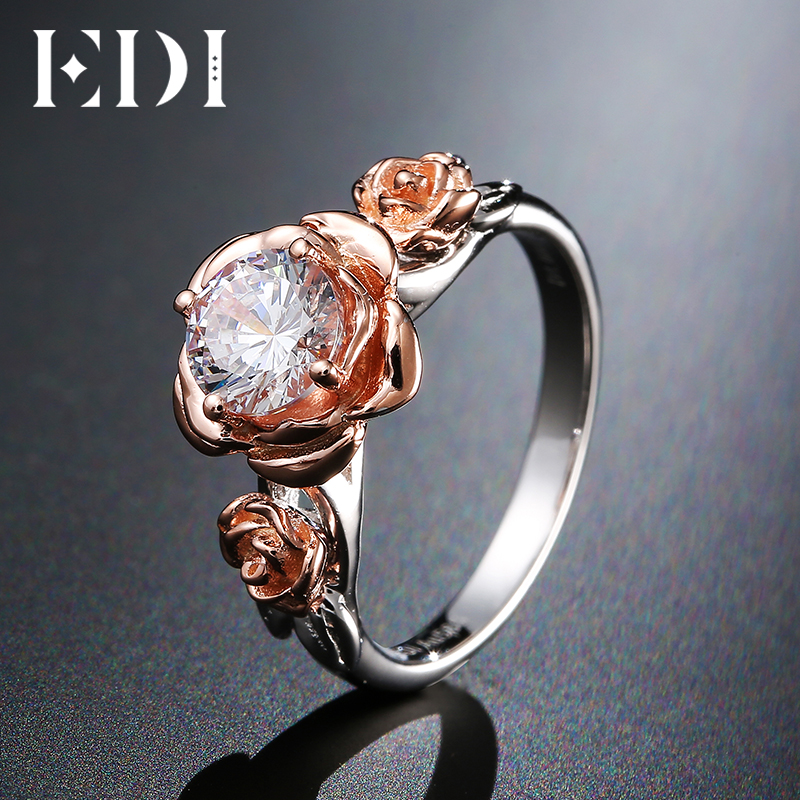 EDI Natural Topaz Rose Flower Crystal Engagement Ring Beauty And The Beast Gemstone 925 Sterling Silver Bands Fine Jewelry