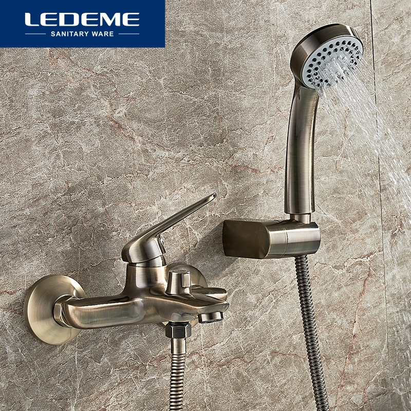 LEDEME Shower Faucet Wall Mounted Antique Brass Polished Bathtub Faucet With Hand Shower Bathroom Bath Shower