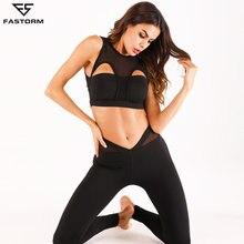 4dff27ab2bc7 FASTORM Delle Donne Della Maglia di Yoga Set di Abbigliamento Palestra  Stretto Leggings Senza Soluzione di