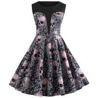 Autumn Halloween Pink Skull Print Women Vintage Dress Round Neck Sleeveless Rockabilly Swing Retro Dress Party Vestidos