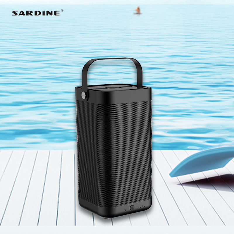 Sardine A9 portable bluetooth speaker  5200mAh 16W high power sound box strong and rich sound for weekend party TF card USB AUX kaish black p90 high power sound neck