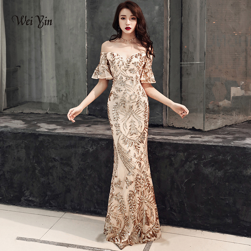 weiyin 2019 Gold Mermaid Sequined Long   Evening     Dresses   With Sexy Off The Shoulder V Neck Women Formal   Dress   WY1227