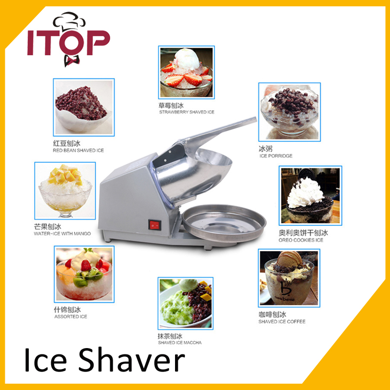 ITOP 110V 220V Stainless Steel Electric Ice Shaver Manual Ice Crusher Machine Snow Cone Maker free shipping electric ice crusher block shaving machine shaved ice machine