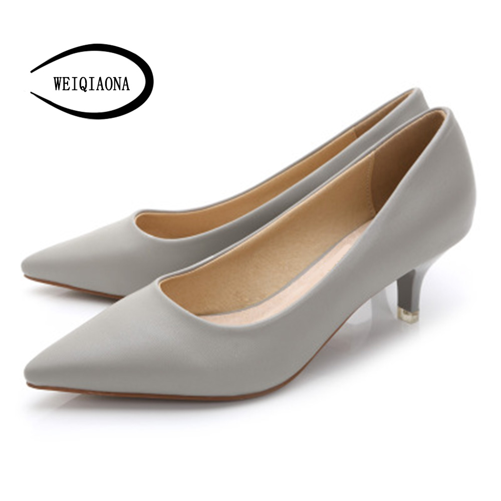 OL Woman Shoes Genuine Leather inside Low Heels Women Pumps Stiletto Thin Heel Women's Work Dress shoe Pointed Toe Wedding Shoes new 2016 factory matte shoe women pointed toe red bottom low heel pump lady single ol work career spring fall shoes 678 2suede
