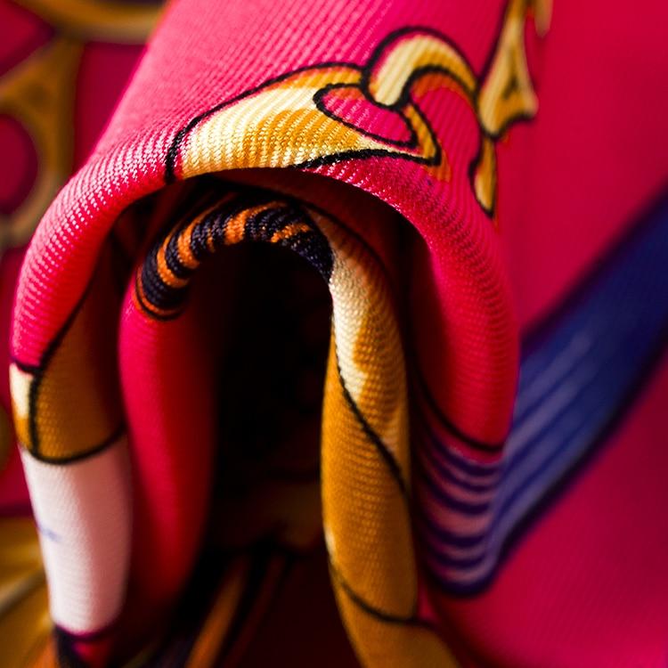 100 см * 100 см Twill Шелковый Евро Бренд Французский дизайн Веревка Кисти и Металлической Цепью Pattern Женщины Квадратных Размер шарф Большой Платок 3105