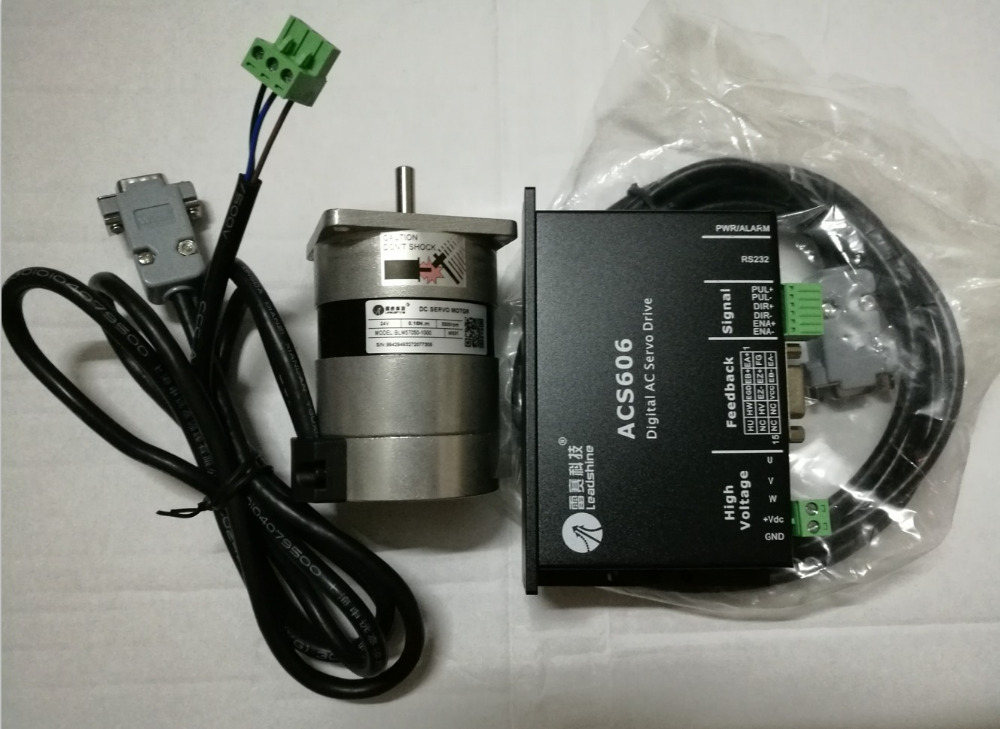 New Leadshine 50W Brushless servo drive ACS606 and Brushless motor BLM57050-1000 Engine a set work 24VDC speed 3000RPM 0.48NM 100w new leadshine closed loop system a servo drive hbs507 and 3 phase servo motor 573hbm10 1000 with a cable a set cnc part