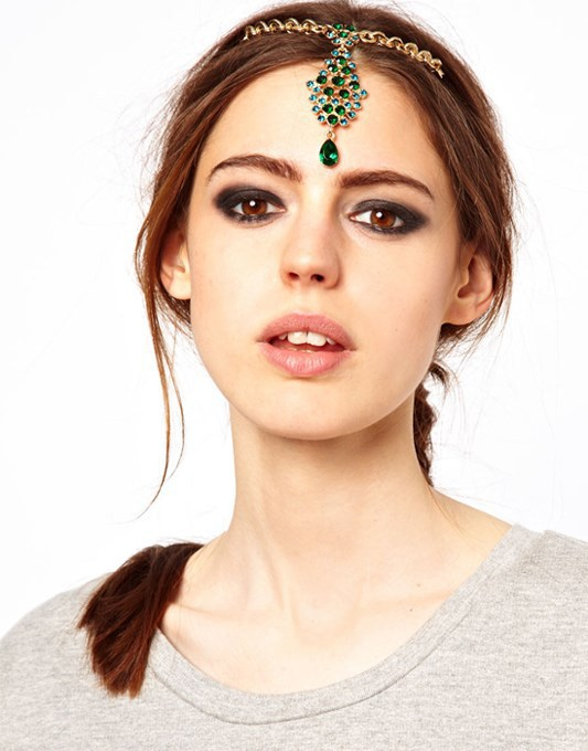 Cheapest style DIY Wholesale Princess of India Frontlet Water Drop Glabellar Hair Clip Green Rhinestone Pendent Hair Clips