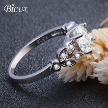 BICUX Elegant Geometric Gold Silver Cubic Zirconia Rings for Women Engagement Wedding Fashion Plant Leaf Crystal Ring Jewelry