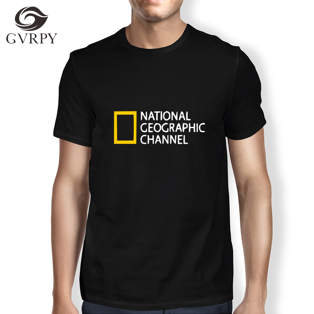 NATIONAL GEOGRAPHIC CHANNEL Printed T Shirts Mens Cool Streetwear T-shirts Homme Comfortable Soft Modal Short Sleeves Tee Shirts