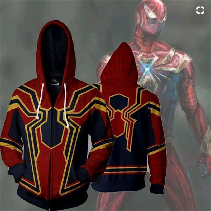 Spiderman 3D jacket costume Unisex hoodie sweatshirts man zipper hoodies top sweatshirt jacket Coat For Adult Man