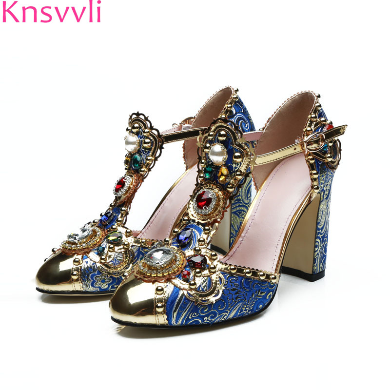 Knsvvli New T Type Band Mixed Color Chunky High Heel Shoes Women Jewelled Flower Women Pumps Rhinestone Pearl Woman Sandals trendy women s sandals with colorful rhinestone and chunky heel design