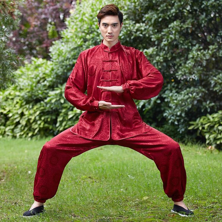 Bourgondië Chinese Nathional Trends Mannen Kung Fu Uniform Katoen Tai Chi Pak Wushu Kleding Maat M Tot Xxxl Ns015