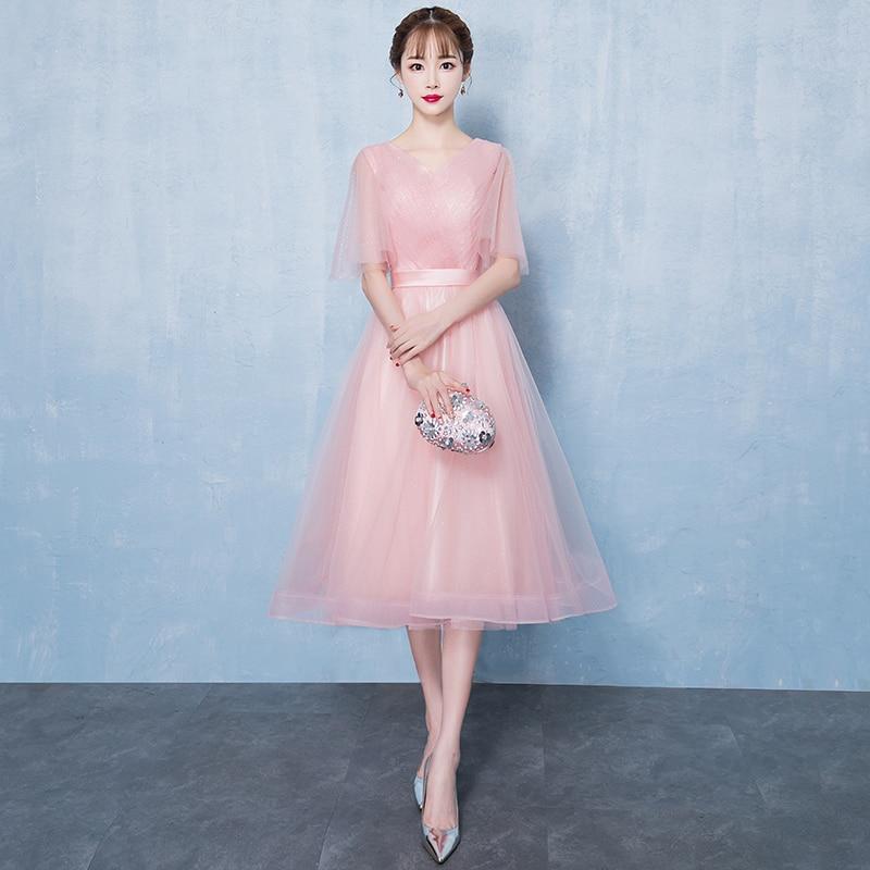 Elegant Full Length Pink Gowns Sweet Bridesmaid Wedding Dress 2019 Spring Slim Chiffon Banquet Cheongsam Cute A Line Korea Gown
