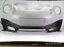Car-styling For Nissan GTR R35 CBA DBA Portion Carbon Fiber Nismo Ver2 Style Rear Bumper With Lip Glossy Fibre Bodykit Trim