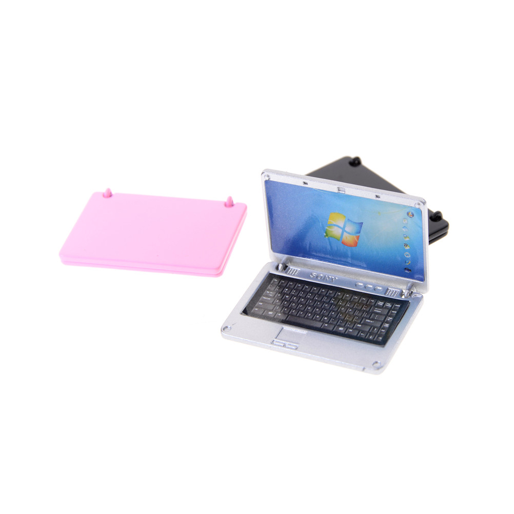 Nieuwe 1:12 Poppenhuis Miniatuur Leuke Simulatie Mini Laptop Computer Legering Mode Ambachten Poppenhuis Decoratie Diy Accessoires