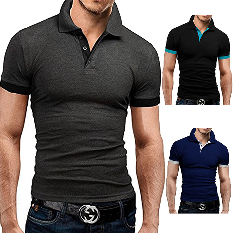 Men   Polo   Shirt Fashion Casual   Polo   Homme 2019 New Summer   Polo   Shirts Men Casual Slim Fit Patchwork Short Sleeve Plus Size m-3xl