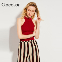 Clocolor Women Tank Top Slim Sleeveless Backless Red Yellow Halter Style 2017 Sexy Girl Summer Fashion