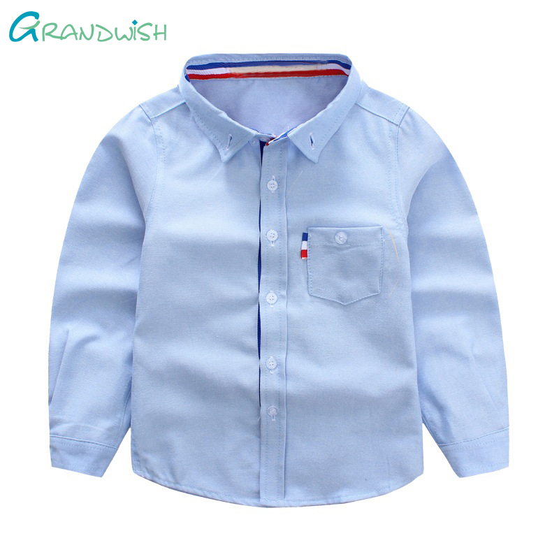 Grandwish Children's Turn-down Collar School Shirt Boys Solid Shirt Kids Shirt Pullover for Girls Kids Clothing 3T-10T,SC795 slim fit turn down collar colored plaid lining solid color shirt for men