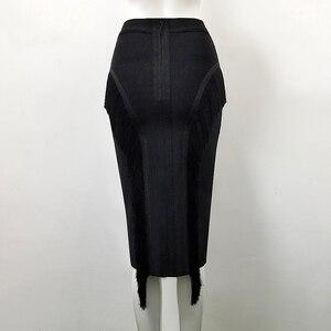 Image 3 - High Quality Sexy Tassel Knee Length Bandage Skirt 2018 Knitted Sweet Designer Pencil Skirt