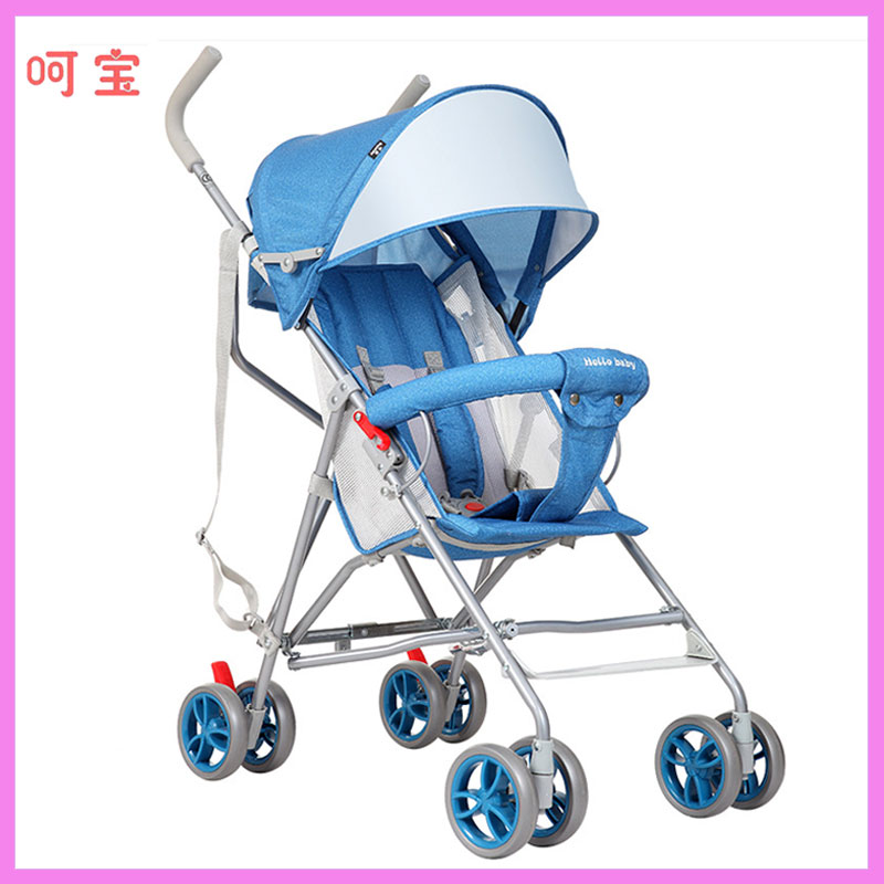Four Wheels Stroller Lightweight Summer Portable Super Light Sitting Half-lying Baby Carriage Bassinet Pram Folding Buggy 0~36 M
