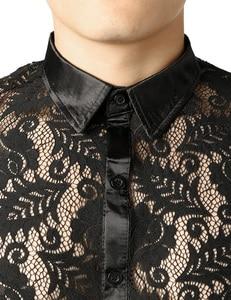 Image 3 - 남자의 잎 자수 투명 셔츠 슬림 피트 섹시한 Clubwear 드레스 셔츠를 통해 볼 남자 파티 이벤트 레이스 쉬어 탑스 블라우스
