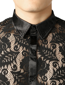 Image 3 - Mens Leaves Embroidery Transparent Shirt Slim Fit Sexy See Through Clubwear Dress Shirt Men Party Event Lace Sheer Tops Blouse