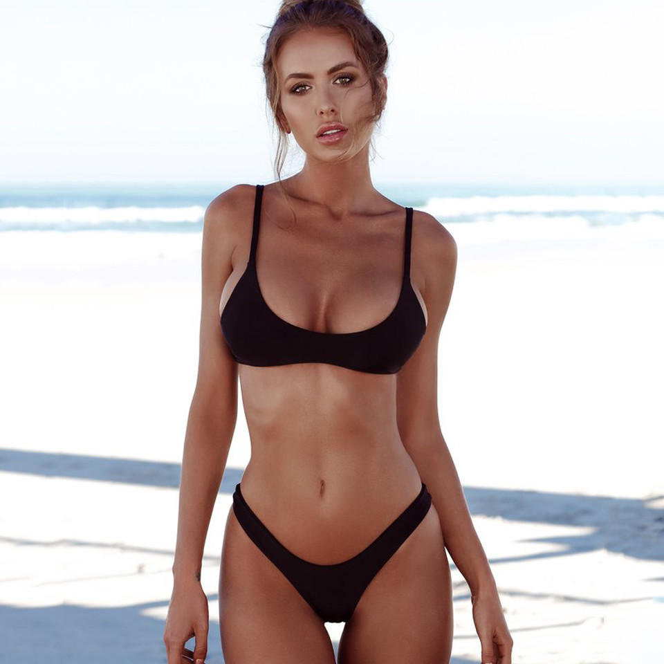 Sexy Thong Bikini 2019 plus size Swimwear Women Brazilian Bikini Set Push Up Swimsuit Solid Beachwear Bathing Suit Biquini XXL-1