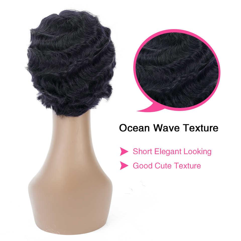 Sophie Bob Pendek Wig untuk WANITA HITAM-Remy Lurus Rambut Manusia Wig 4 Inch 100% Rambut Manusia mesin Tidak Berbau H. nina Wig