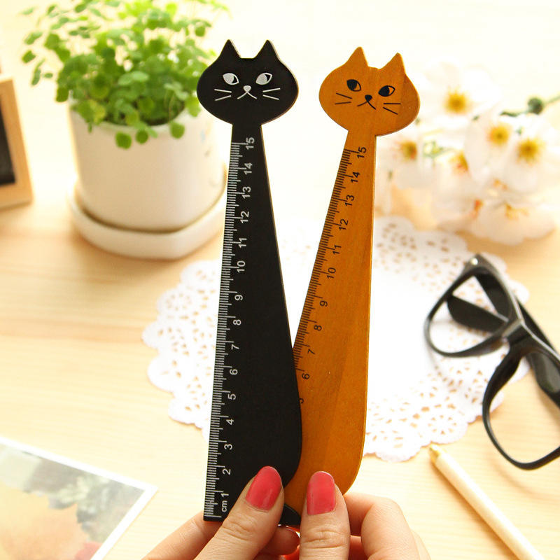 15cm Lovely Cat Shape Ruler Cute Wood Animal Straight Ruler Gift For Kids School Supplies Stationery Black Yellow