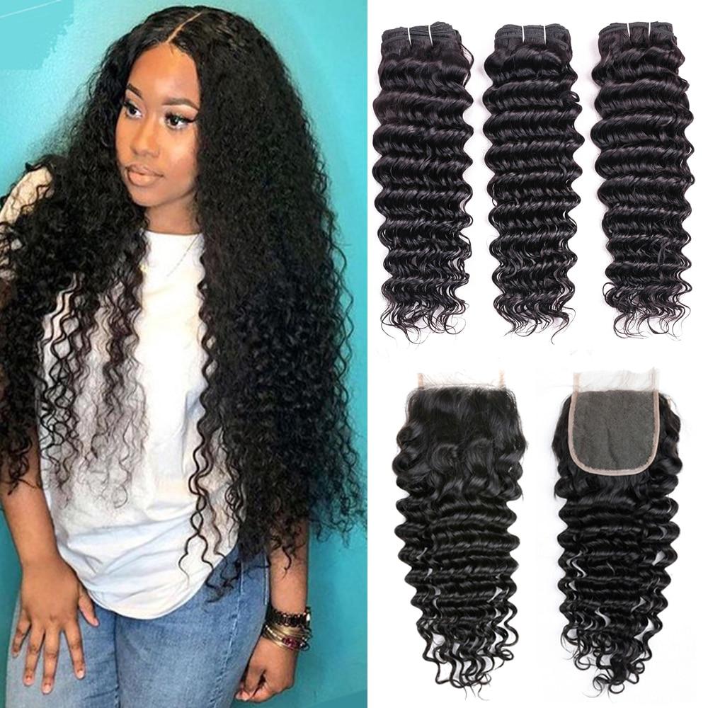 Deep Wave Bundles With Closure Hair Bundles With closure Brazilian Hair Weave Bundles Human Hair Bundles